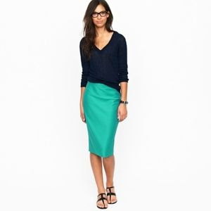 J. Crew teal double-serge wool No.2 pencil skirt